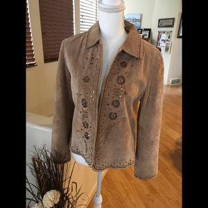 Soft Suade light brown deco Western Look Jacket
